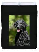 Portrait Black Curly Coated Retriever Dog Duvet Cover