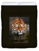Portrait Of A Bathing Siberian Tiger Duvet Cover
