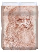 Portrait Of A Bearded Man Duvet Cover by Leonardo da Vinci