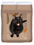 Portrait Of A Black Shorthair Cat With Open Mouth Duvet Cover