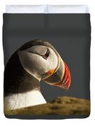 Portrait Of A Colorful Puffin Iceland Duvet Cover