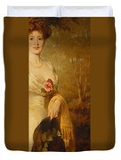 Portrait Of A Lady In A White Dress Duvet Cover