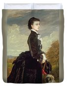 Portrait Of A Lady In Black With A Dog Duvet Cover