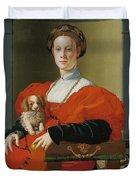 Portrait Of A Lady With A Lapdog Duvet Cover