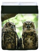 Portrait Of A Pair Of Owls Duvet Cover