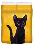 portrait of a small black cat named  LuLu Duvet Cover