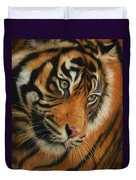 Portrait Of A Tiger Duvet Cover by David Stribbling