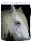 Portrait Of A White Horse Duvet Cover