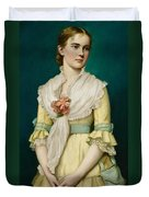 Portrait Of A Young Girl Duvet Cover by George Chickering Munzig