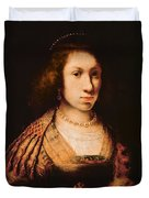 Portrait Of A Young Woman With A Carnation, C.1642 Oil On Canvas Duvet Cover