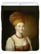 Portrait Of An Unknown Woman In Russian Costume Duvet Cover