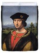 Portrait Of Charles Damboise 1471-1511 Marshal Of France Oil On Panel Duvet Cover