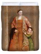 Portrait Of Countess Livia Da Porto Thiene And Her Daughter Deidamia Duvet Cover