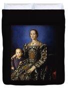 Portrait Of Eleanor Of Toledo With Her Son Giovanni De' Medici Duvet Cover