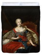 Portrait Of Johanna-elizabeth, Electress Of Anhalt-zerbst, C.1746 Oil On Canvas Duvet Cover
