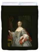 Portrait Of Maria Amalia Of Saxony As Queen Of Naples Overlooking The Neapolitan Crown Duvet Cover