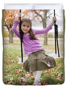 Portrait Of Young Girl On Swing Duvet Cover by Vast Photography