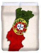 Portugal Map Art With Flag Design Duvet Cover