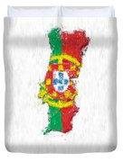 Portugal Painted Flag Map Duvet Cover