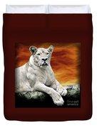Posing Lioness Duvet Cover