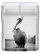 Posing Pelican - Black And White Duvet Cover