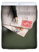 Post Cards And Fountain Pen Duvet Cover
