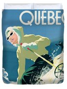 Poster Advertising Skiing Holidays In The Province Of Quebec Duvet Cover