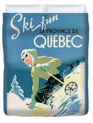 Poster Advertising Skiing Holidays In The Province Of Quebec Duvet Cover by Canadian School