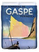 Poster Advertising The Gaspe Peninsula Quebec Canada Duvet Cover