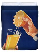 Poster With A Glass Of Orange Juice Duvet Cover