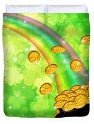 Pot Of Gold Shamrock Blurred Background Duvet Cover