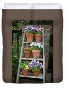 Potted Flower On Ladder Duvet Cover