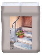 Potted Plant Front Of House Duvet Cover
