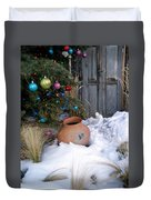 Pottery In Snow At Xmas Duvet Cover
