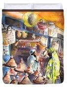 Pottery Seller In Essaouira Duvet Cover
