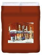 Poutine Lafleur Rue Wellington Verdun Art Montreal Paintings Cold Winter Walk City Shops Cspandau   Duvet Cover