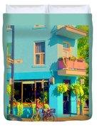 Powder Blue Corner Cafe Elses Pub Rue Roy  Montreal Sunny Summer Cafe Scene Carole Spandau Duvet Cover