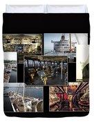 Power Collage Queen Mary Ocean Liner Long Beach Ca 01 Duvet Cover