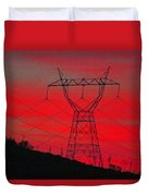 Power Lines Just After Sunset Duvet Cover
