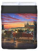 Prague At Dusk Duvet Cover