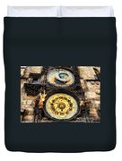 Prague Clock Orloj Duvet Cover