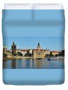 Prague East And Charles Bridge Duvet Cover