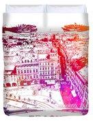 Prague Skyline Panorame Duvet Cover