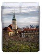 Prague View From The Gardens Duvet Cover