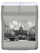 Prague Wenceslas Square And National Museum Duvet Cover by Christine Till