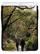 Prairie Creek Redwood State Park With Sun Breaking Through Trees Duvet Cover