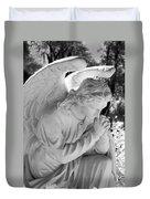 Praying Male Angel Near Infrared Black And White Duvet Cover