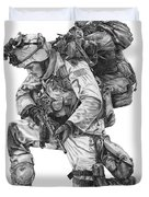 Praying  Soldier  Duvet Cover by Murphy Elliott