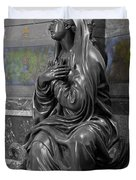 Praying Statue In Chantilly Duvet Cover
