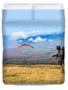 Preparing For Take Off - Paragliders Taking Off High Over Maui. Duvet Cover